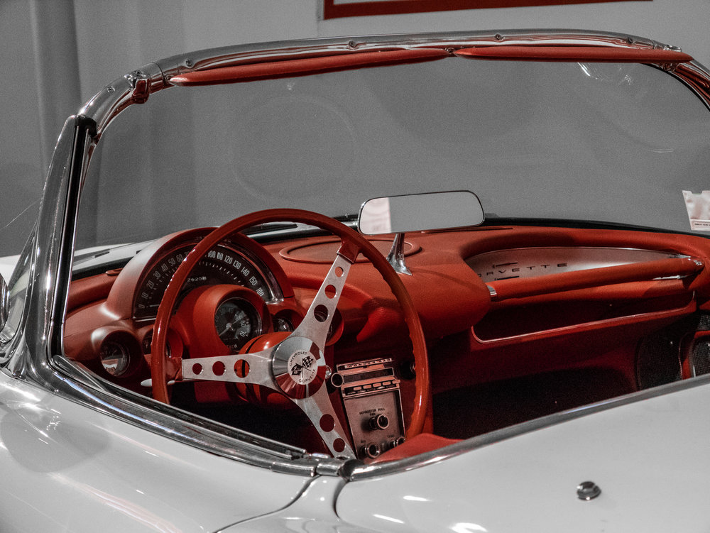 The red leather trim interior of a Corvette with white paintwork (Credit: Nicolai Rauser)