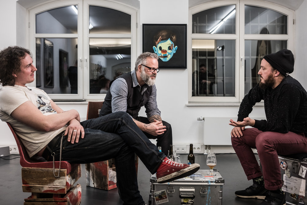 heliumTALK TV-show at the gallery with (from left to right) Jannes Vahl, Jörg Heikhaus and Rudolf Klöckner, our guest in March 2017