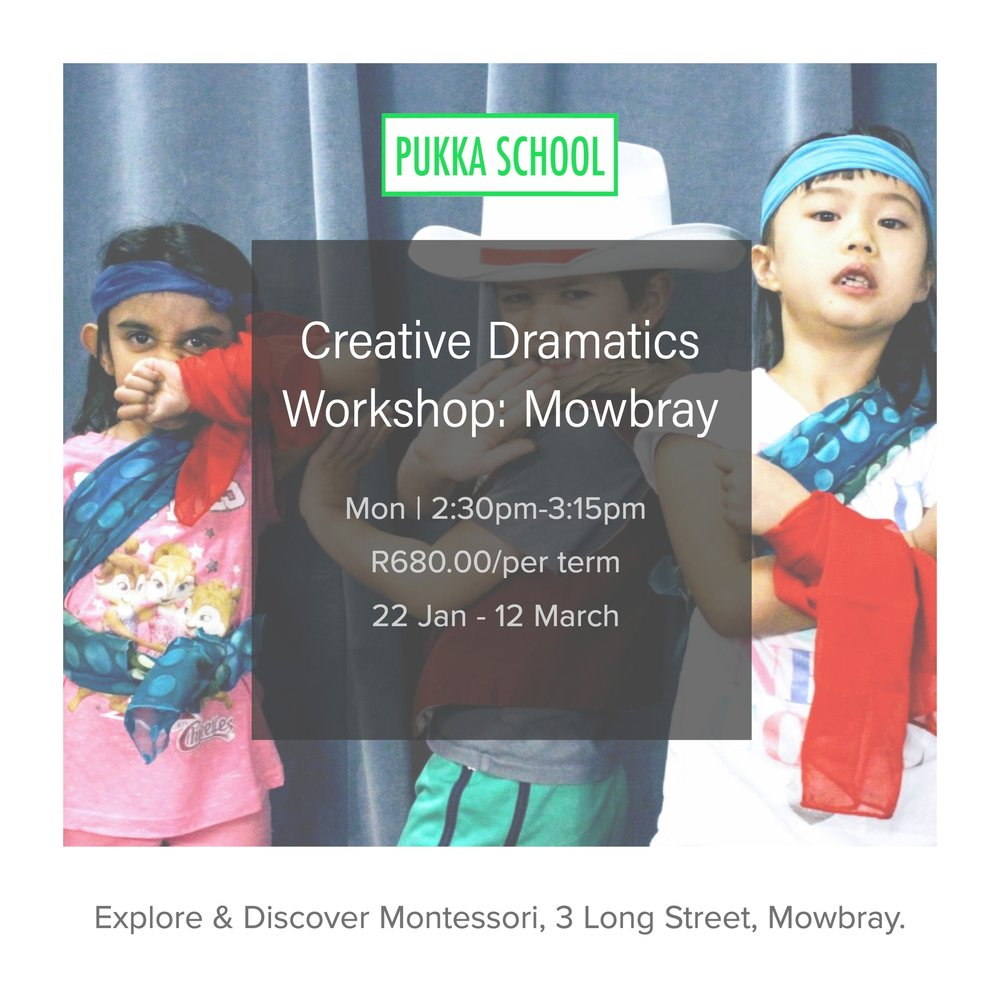Mon|2:30-3:15pm -  Inspired by the world of theatrical storytelling our *Creative Dramatics Workshop* invites children to imagine, enact and reflect upon human experiences through role-play, improvisation, pantomime, movement and sound. We incorporate dramatic exploration in an educational setting thus supporting children's natural tendency to learn through play. We're developing Confidence, Collaboration, Curiosity, Resilience and Body Control practicing skills that prepare brave and innovative individuals for the future.BOOK A SPOT