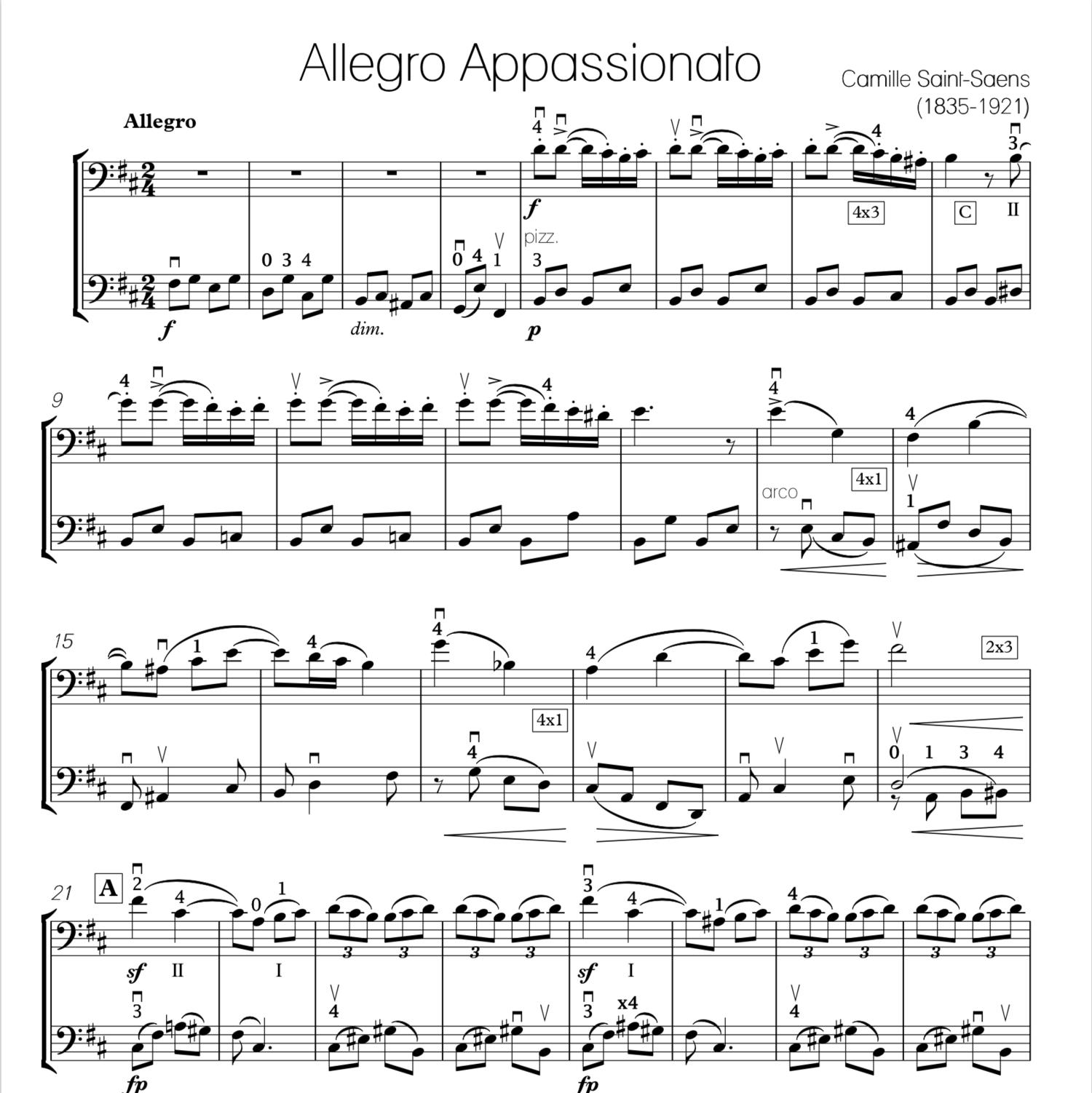 Saint-Saens | Allegro Appassionato for Two Cellos — Cello Loft Music