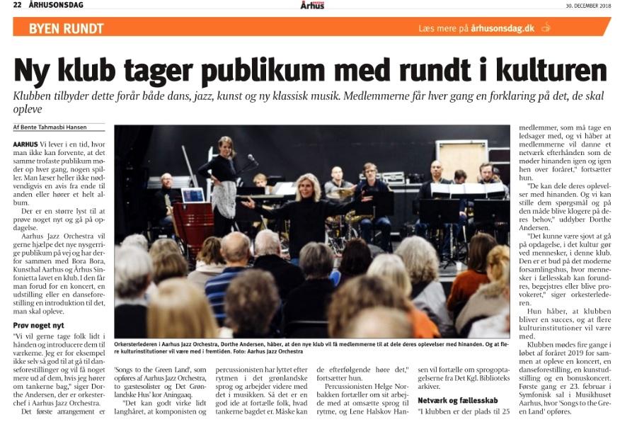 Artikel om Den Levende Kunstklub i   Aarhus Onsdag   d. 30. december 2018, side 22.