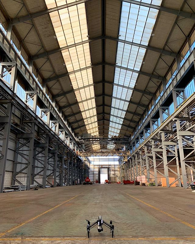 Flying inside this warehouse again today for one of our regular site progress visits  #drone #construction #warehouse