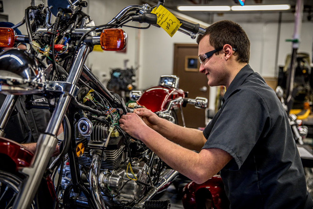MOTORCYCLE & POWER EQUIPMENT TECHNOLOGY - Graduates will have the ability to diagnosis, troubleshoot and disassemble small engines; replace pistons, bearings, gears, valves and bushings; install ignition systems; perform wheel alignment and replace steering/suspension components; replace clutches, transmissions and parts; lubricate moving parts; diagnose problems with and replace chassis assemblies; disassemble and replace hydraulic brakes; preform necessary maintenance and checks on various pieces of equipment. The skills will be taught in both classroom and lab environments.