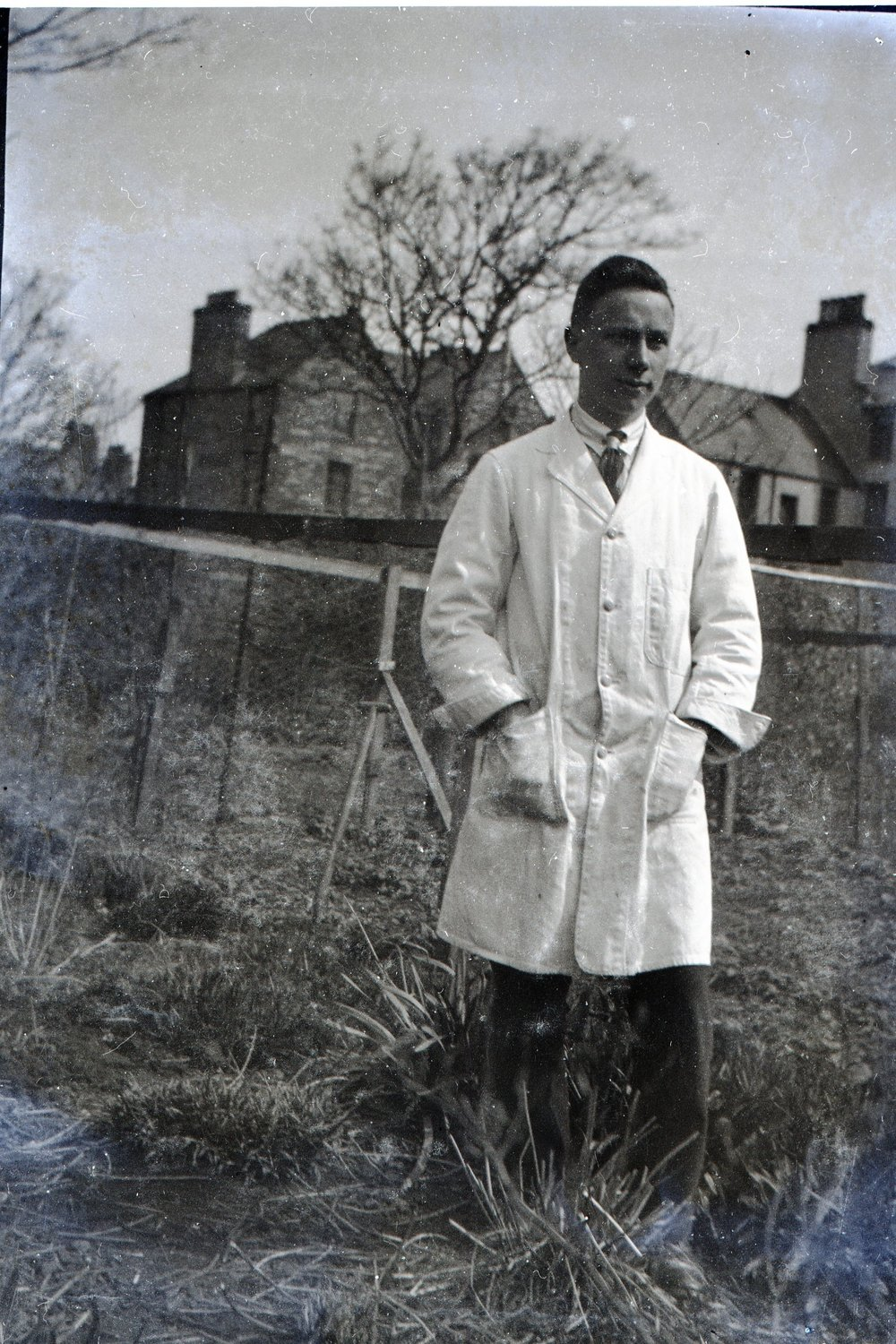 Patrick Gorie in shop coat - his first day at work, perhaps. Summer 1925 034.jpg