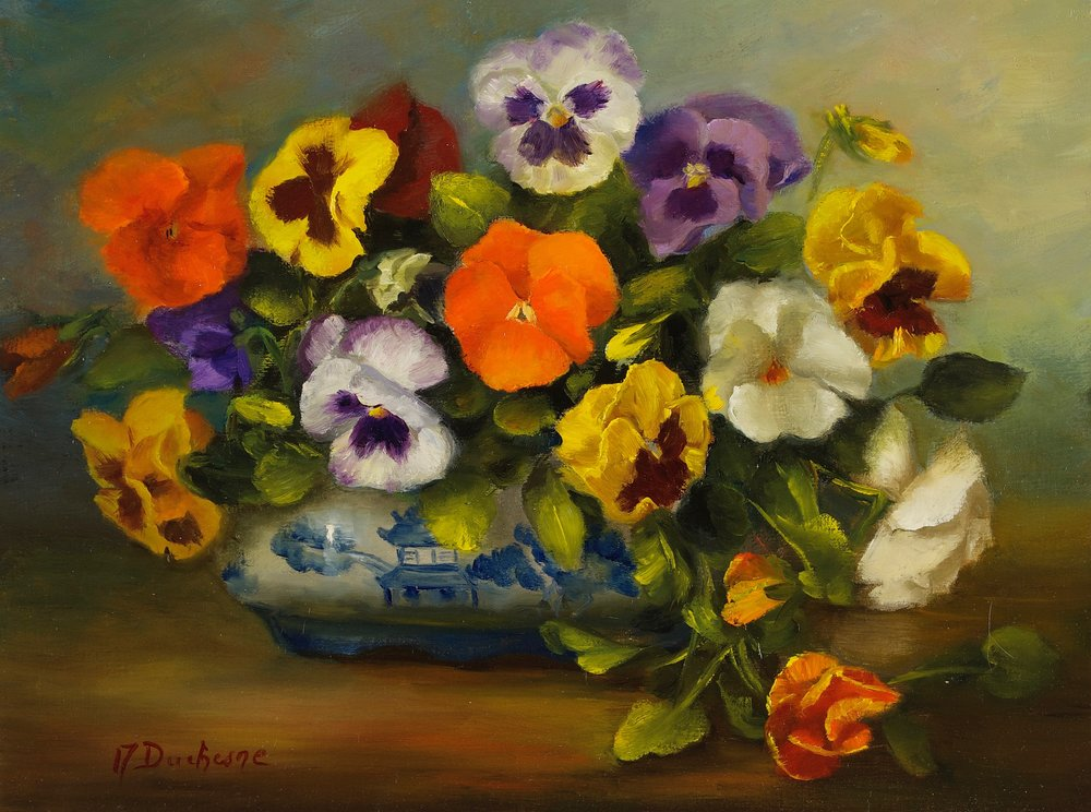 Pansies in White and Blue Dish