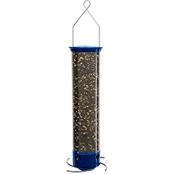 The Whipper has cardinal preferred curved perches that break away when a squirrel tries to grab a hold of them. It is 4 ¾ inches around and 21 inches from top to feeder port making it difficult for a squirrel to even get on to. It is constructed of stainless steel and powder coated zinc and comes with a lifetime manufacturer's warranty. The Tipper holds 5 pounds of seed keeping the birds happy while cutting down the time you spend filling the feeders.