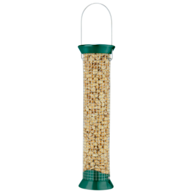 Woodpeckers would love this feeder! Simply fill with peanuts or sunflower sit back and enjoy. Constructed of stainless steel wire and a metal top and bottom. Lifetime warranty.