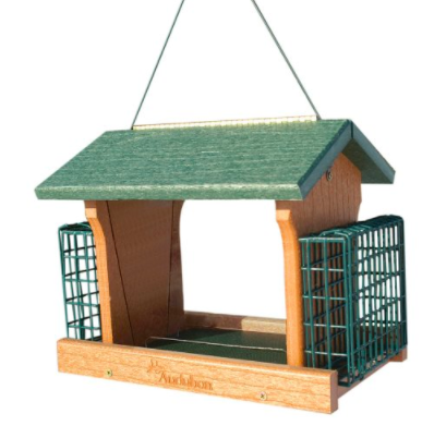 Go Green! This recycled plastic feeder will look great in your yard. Made from tough recycled plastic this feeder will not rot or fade.