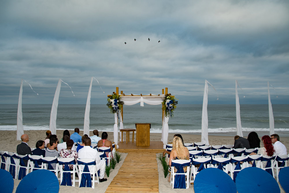- Sometimes timing is essential... Birds flying by as wedding guests wait for the ceremony to start on Carolina Beach North Carolina.
