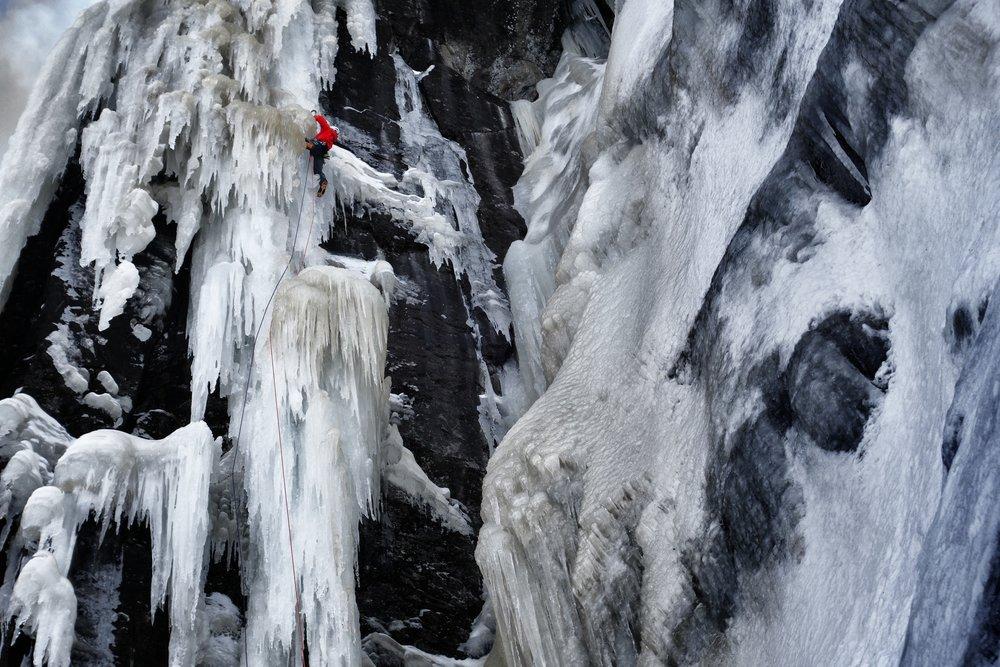 Matthias Scherer on Stormbringer, Eidfjord, Norway - picture Tanja Schmitt
