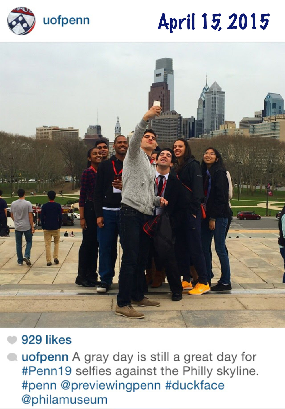 This is a screenshot of a post from Penn's Instagram from April 15, 2015. I had been accepted but had yet to commit.