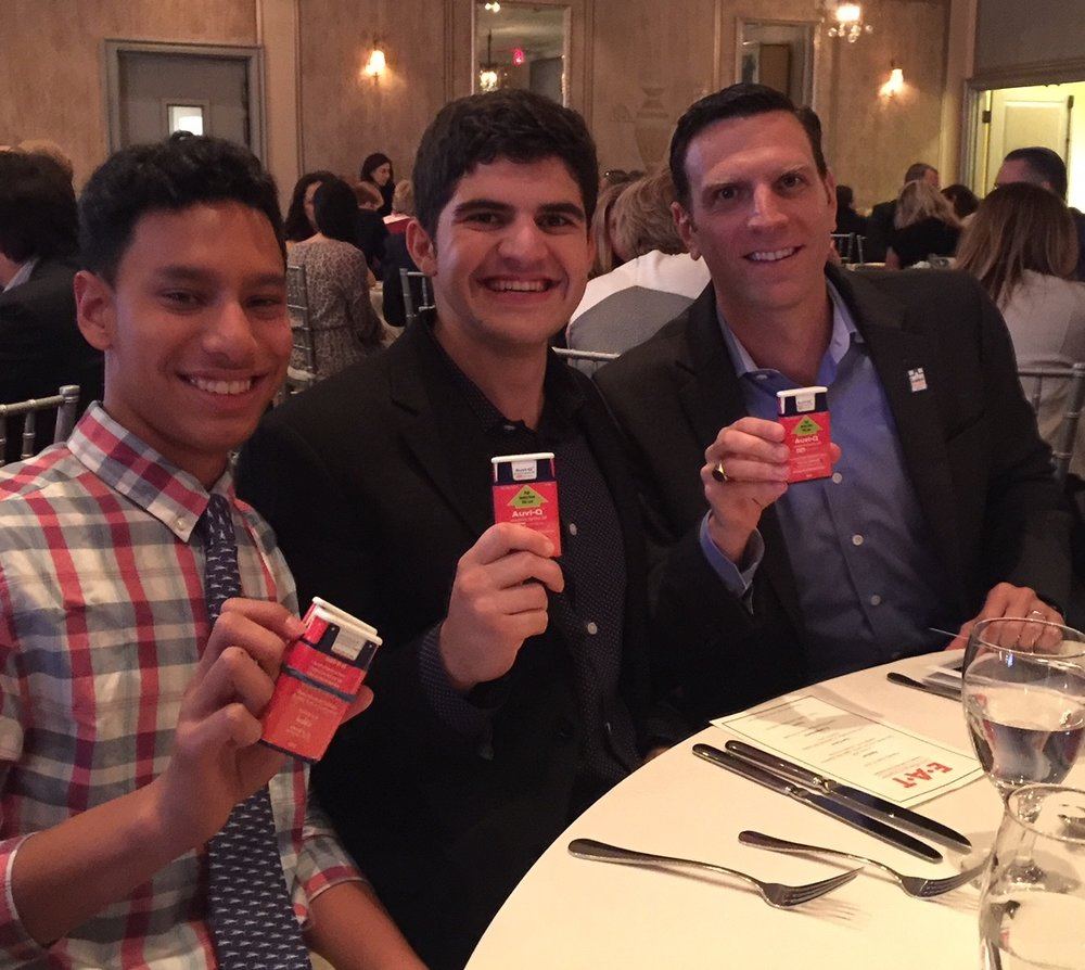 Enjoying a dinner with two Changemakers, Jake Ourman, who has a food allergy and who was in Washington recently advocating for change, and Evan Edwards, who helped to develop that life-saving Auvi-Q that we are all holding.