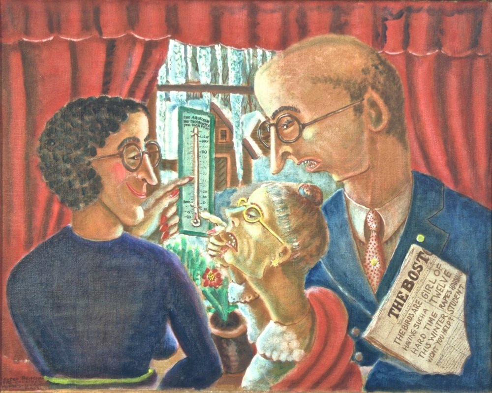 Our God the Thermometer, Esther Forbes and her family, 1936 oil on canvas