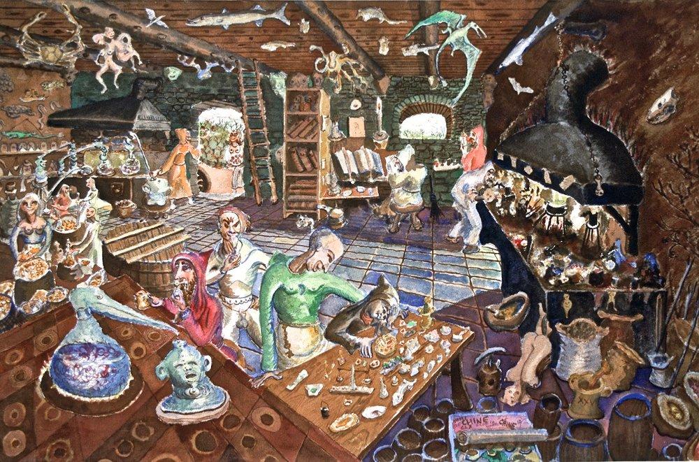 Alchemist Shop, watercolor, 1930s