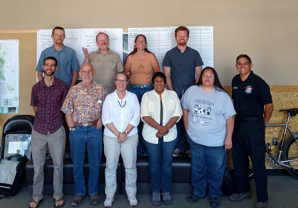 Workshop participants. Top row from left, Sam berry, Tim Kirkpatrick, Rebecca Samulski, Matt Cook. Bottom row from right, Porfirio Chavarria, Shirley Piqosa, Marlita Reddy-Hjelmfelt, Jana Carp, Hamilton Brown, Matt Piccarello