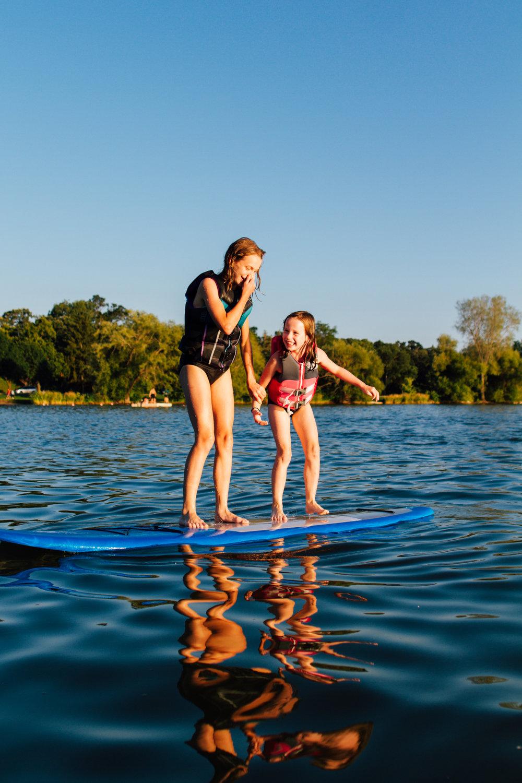 Lake Washington paddleboarding family portrait photography