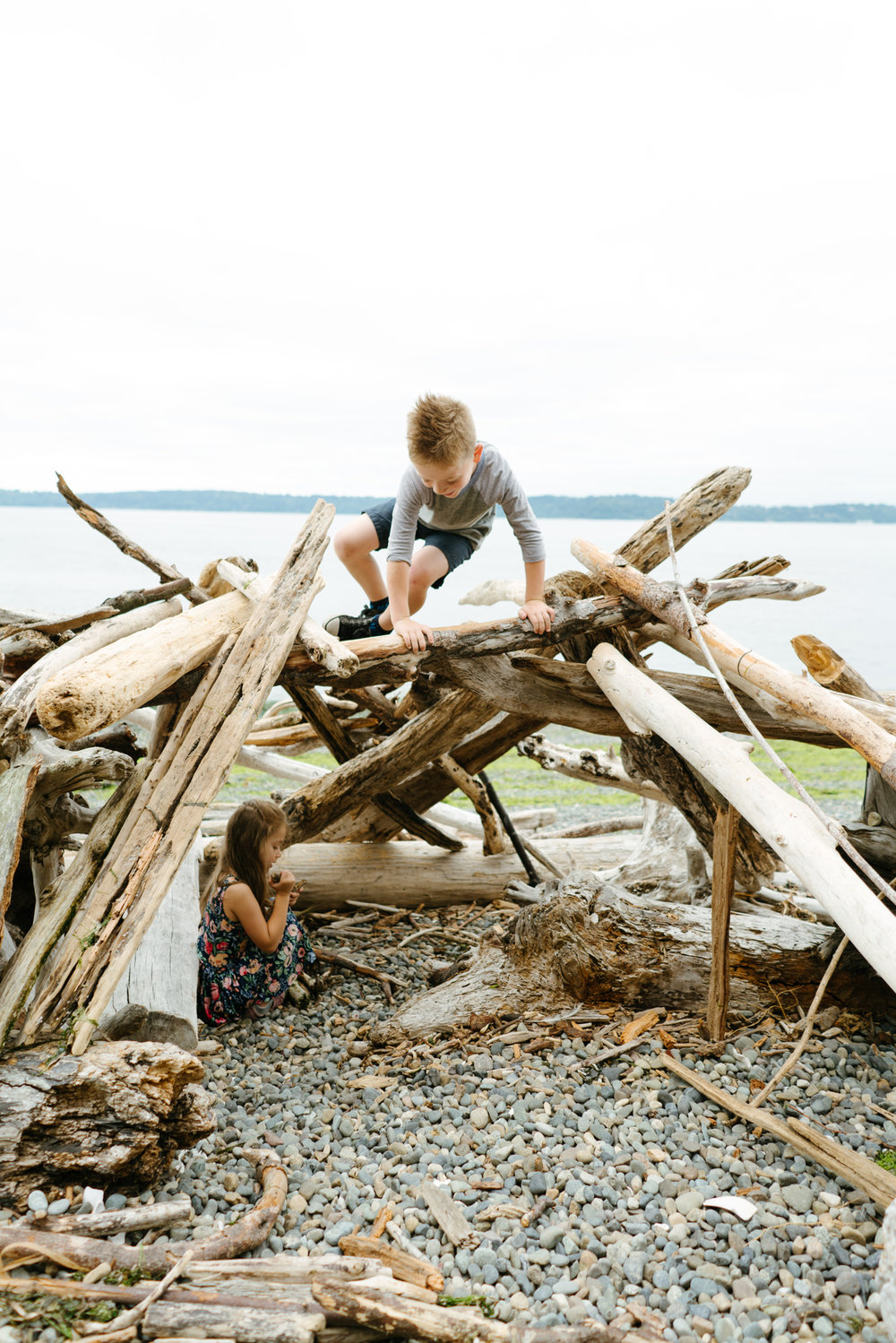 Children's Portrait Photography on the Beach of Puget Sound