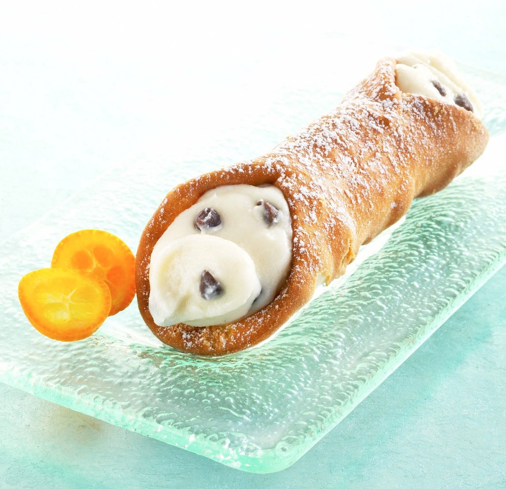 Cannoli-  Delightful fried pastry filled with a sweet creamy ricotta cheese filling & chocolate chips!