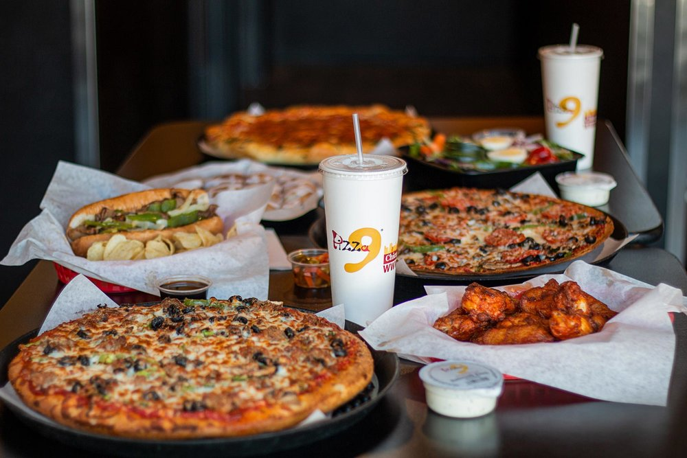Pizza 9 Feast-  Pizza, wings, salads, sandwiches…..you pick! Our menu has many options available!