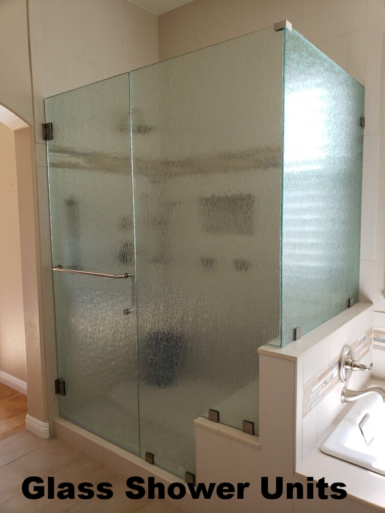 Glass shower unit with cutouts