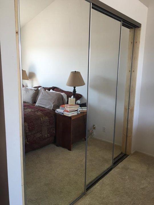 Triple Track Mirrored Closet Door