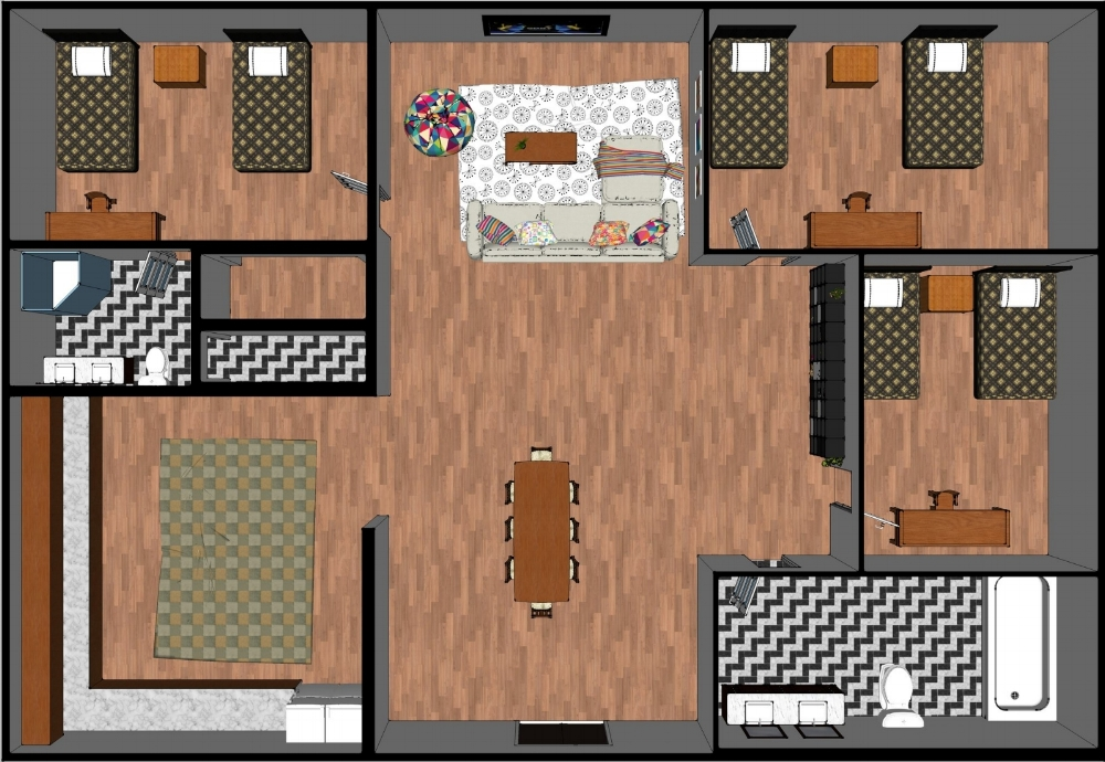 **Please note this is a generic sample floor plan to illustrate the number of beds per apartment and how applicants will share the apartment. this is not intended to illustrate any specific apartment. individual apartments will have a different floor plan.
