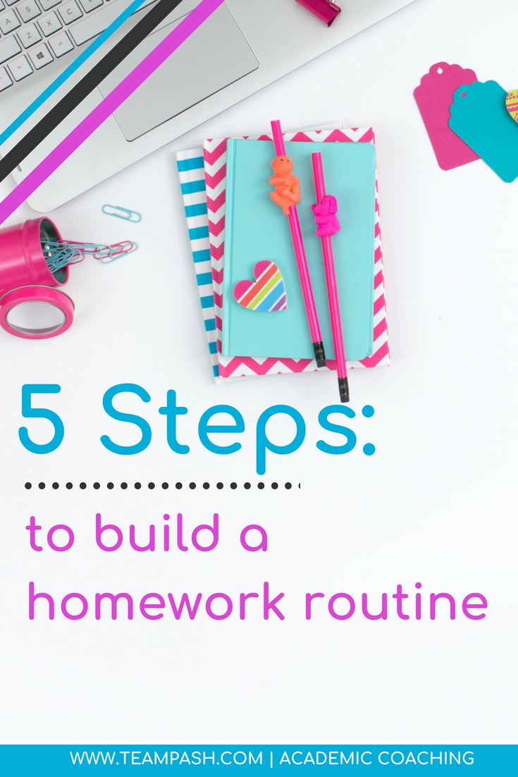 Homework time can make or break or your quality time with your child.  Whether your child is in 1st grade or 12th grade if you have homework frustrations you might just be ready to throw in the towel.  How do we build the best homework routine for our kiddo?  Here are 5 easy steps!  #homework #studying   Marni Pasch Academic Coach Team Pasch Academic Caoching www.teampasch.com