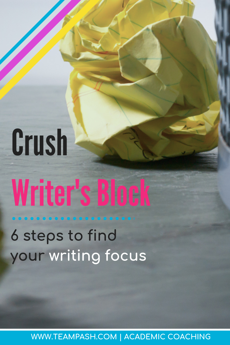 Writer's block can stall even the best writers. When a high school, middle school or college student is forced to write an essay, writer's block can turn into procrastination.  Here are 6 steps to write an essay even when the words won't come!  #writinghack #essaytips #writinghelp  Marni Pasch Team Pasch Academic Coaching www.teampasch.com  #writinghacks #essayhelp #middleschool #highschool #essay  Marni Pasch Team Pasch Academic Coaching www.teampasch.com