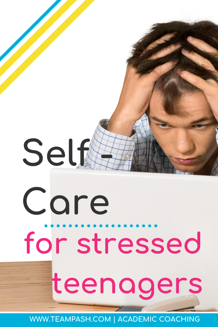How can we help our children handle stress related to school? Here are a few easy ways to help our teens incorporate self-care. Share with your child or practice them as a family!  #parenting #selfcare  Marni Pasch Team Pasch Academic Coaching www.teampasch.com