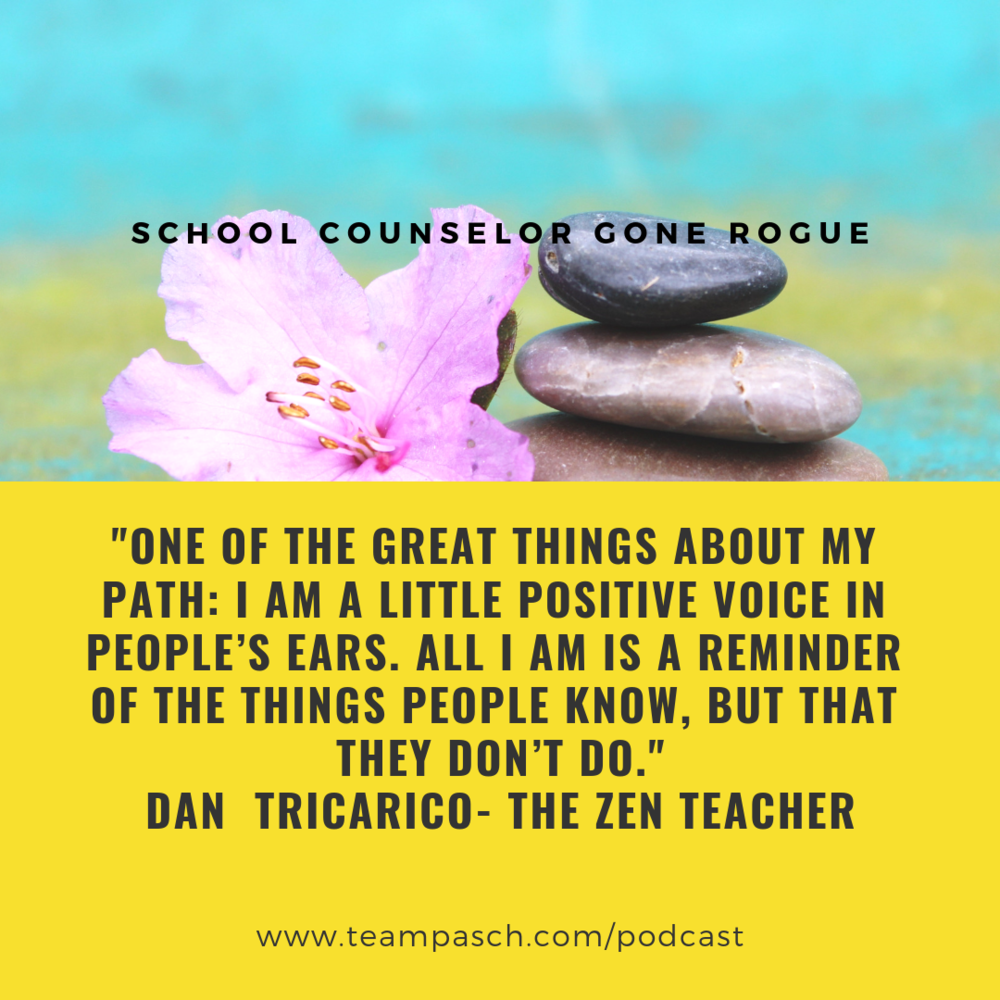 What an amazing conversation I had with author and teacher, Dan Tricarico.  Make sure you check out this episode of School Counselor Gone Rogue to learn about teacher self-care and self-preservation.  Look for episode 021 on Itunes, Stitcher Google Play on the Team Pasch dot com site!