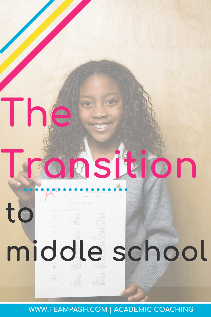 Your child's move from elementary school to middle school can be overwhelming. Here are main differences you can expect to see from elementary to middle school.  Marni Pasch Team Pasch Academic Coaching www.teampasch.com