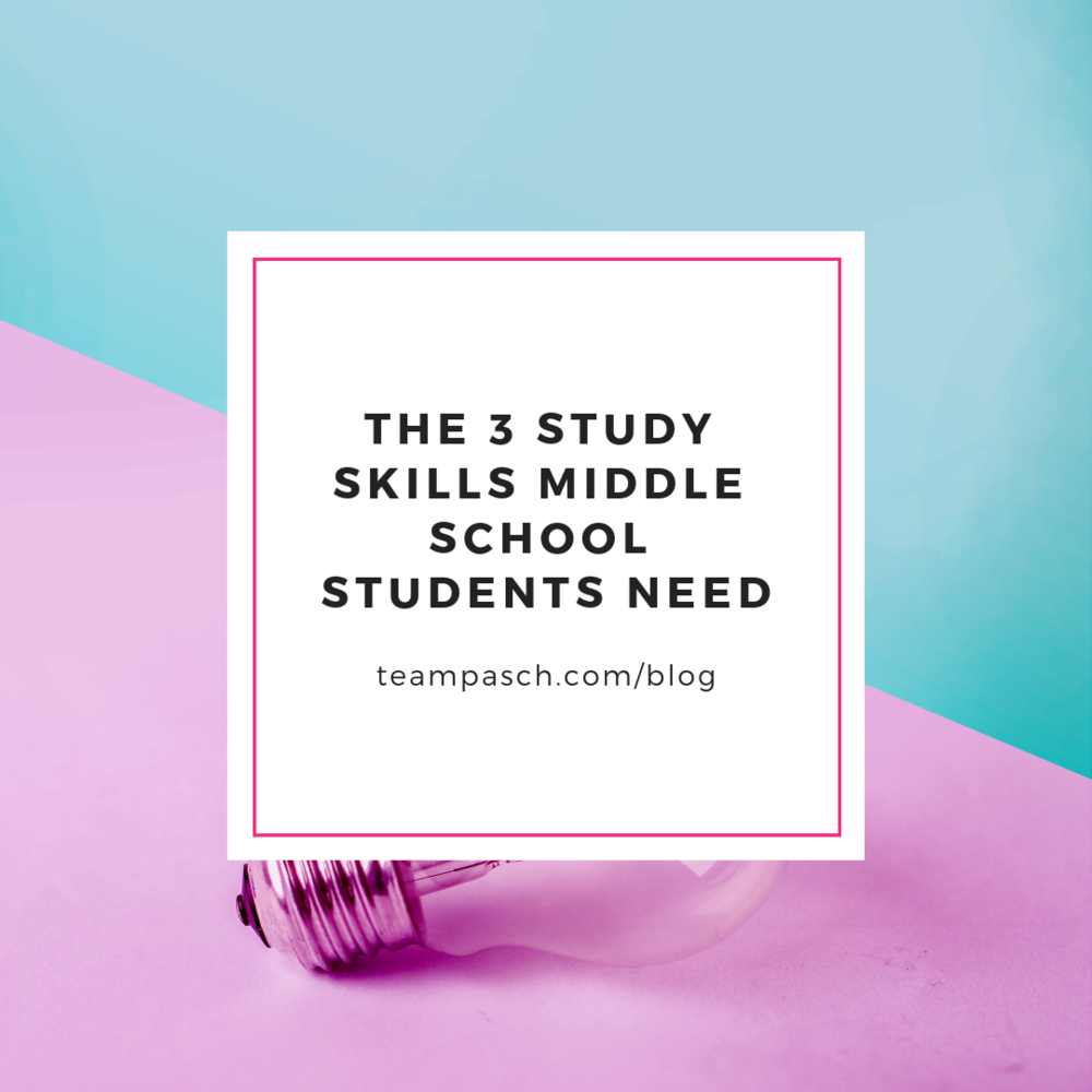 Middle school students need to practice and build these 3 study skills. It's not about perfection - it's about practice. What do you do to help your child develop these skills?  Checkout the blog!