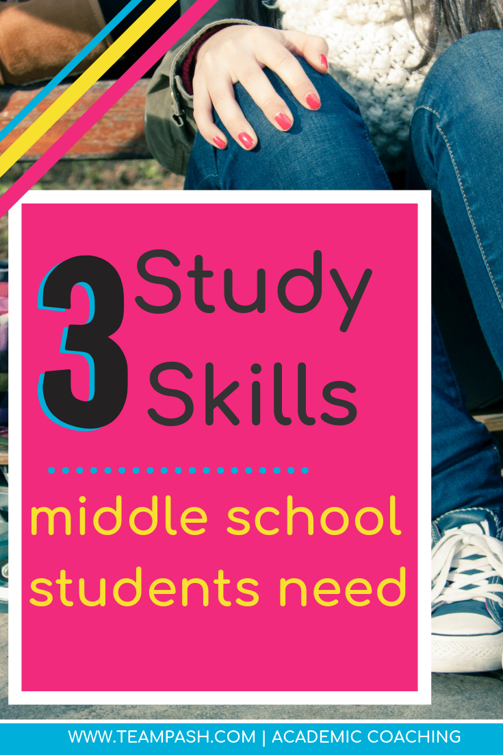 Middle school students need to practice and build these 3 study skills. Working on these study skills will allow your child to enter school with confidence. Read this article to start building on the basics.  Marni Pasch Team Pasch Academic Coaching www.teampasch.com