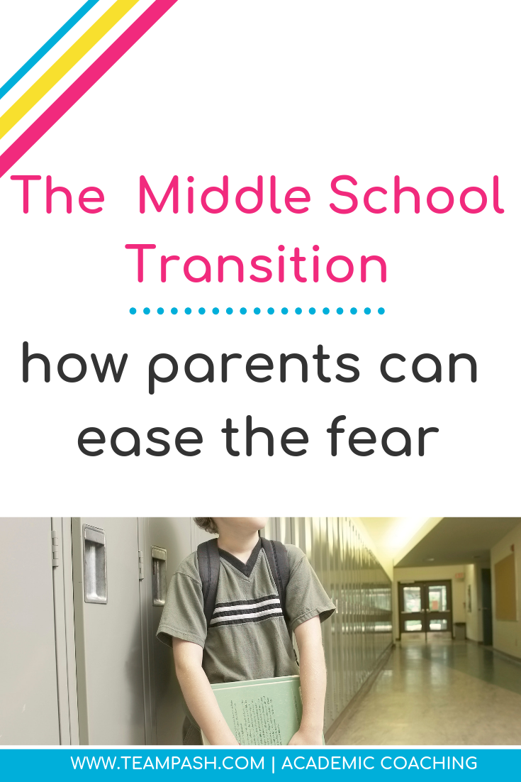 Starting middle school can be scary. Here are the top 5 fears children have when moving to middle school and how to help them!    Marni Pasch Team Pasch Academic Coaching www.teampasch.com