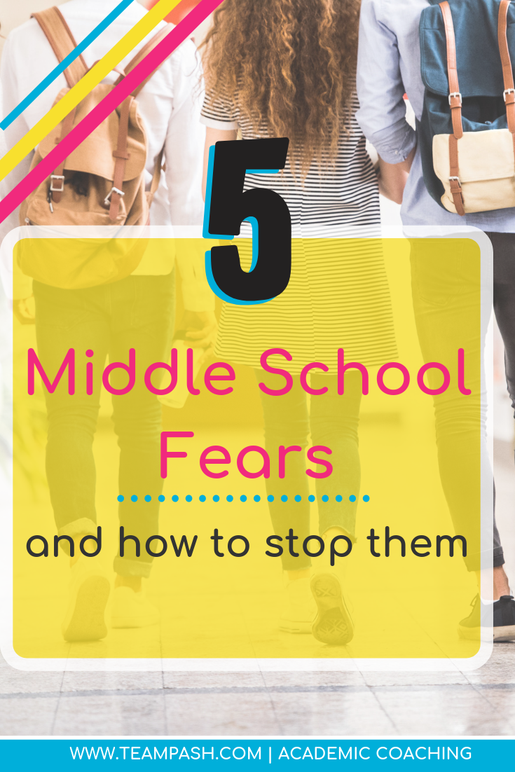 The transition to middle school can be scary. How can parents help their children through those fears? Here are the top 5 fears tweens have when moving to middle school and how to help them!  Marni Pasch Team Pasch Academic Coaching www.teampasch.com