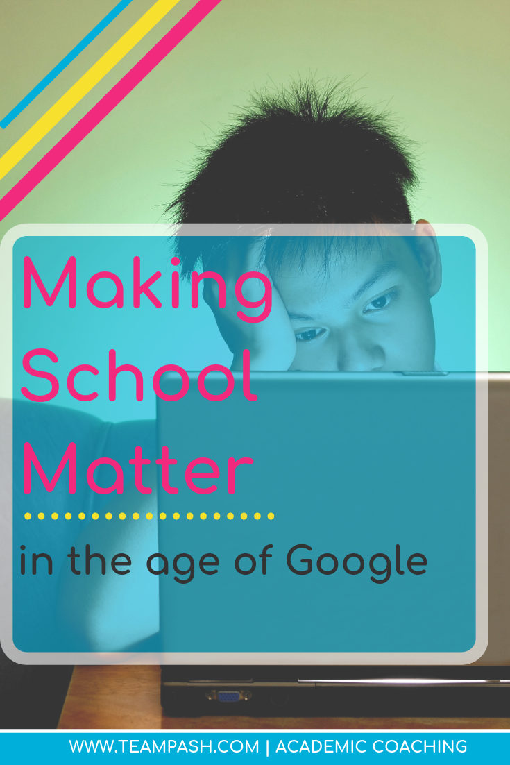 Middle school and high school students that struggle in school often site that finding a purpose in their education is difficult.  How do we make school matter in the age of Google it? Click here for more!   Marni Pasch -Academic Coach Team- Pasch Academic Coach  Podcast School Counselor Gone Rogue   www.teampasch.com