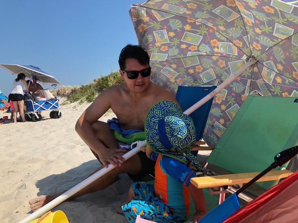 Papa and son on Skaket Beach.