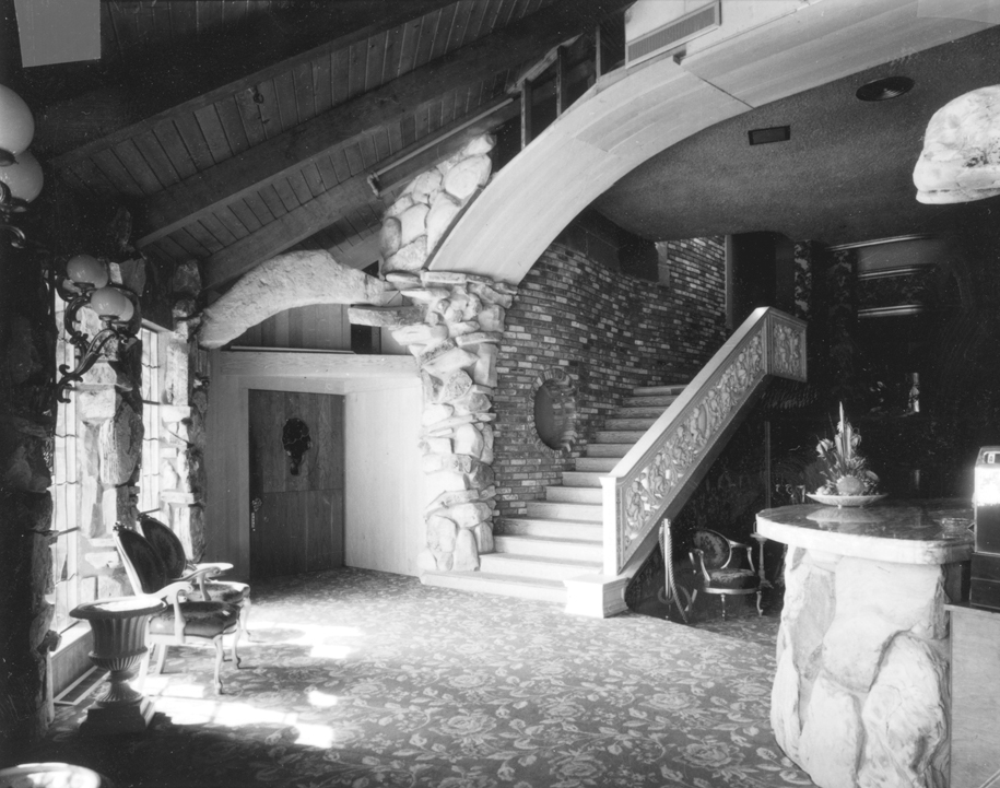 Early photo of the Cafe showing the rock from previous photo in place