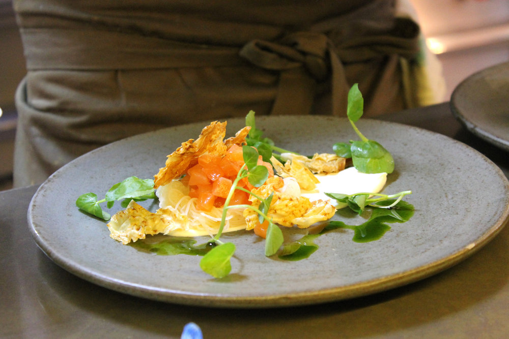 Duart Salmon with Pickled Celeriac, Watercress and Horseradish Creme Fraiche