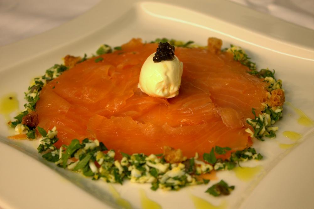 salmon with creme fraiche