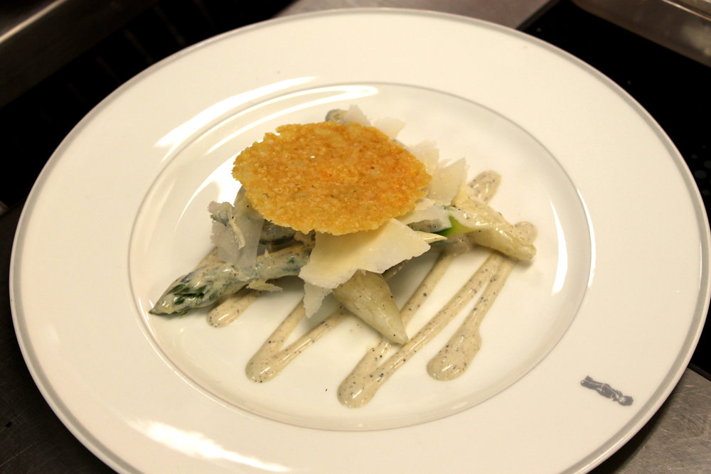 Asparagus with Parmesan Flakes, Truffle Dressing and Parmesan Tuille