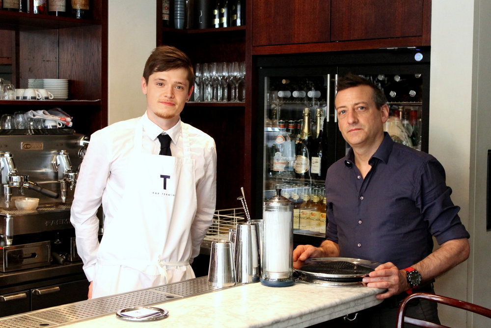 the stagiaire with Marco Arrigo, the owner of bar termini