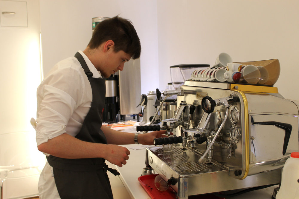the stagiaire tackles an espresso