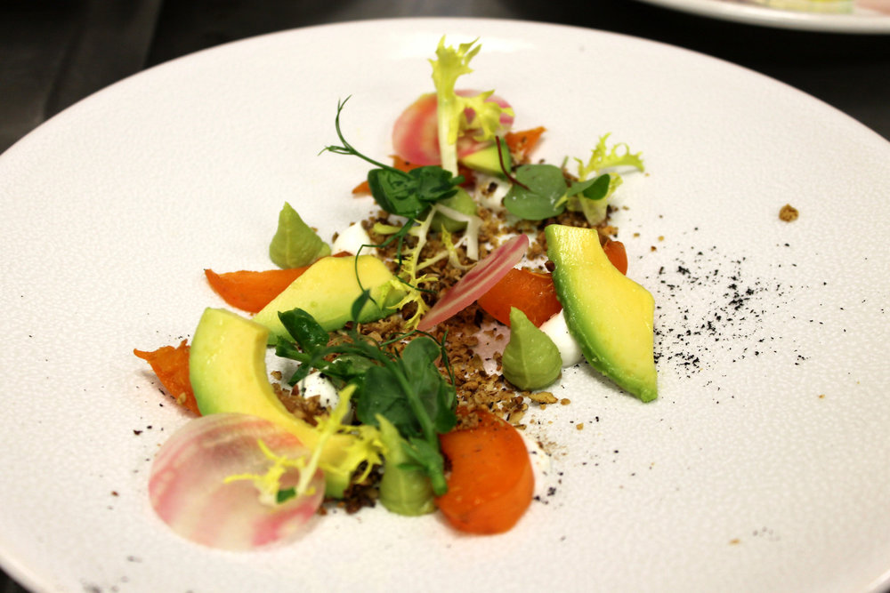 Schezuan spiced apricot, avocado, young goats cheese and buckwheat granola