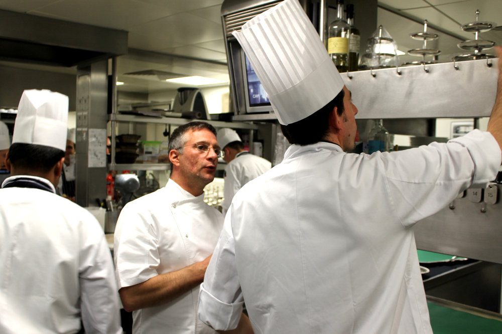 alain roux with Fabrice Uhryn, the head chef, at the pass