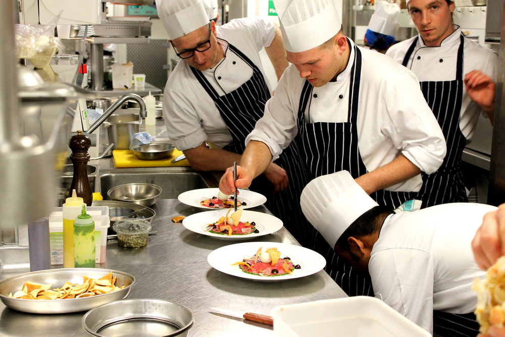 chefs plating at the Waterside inn