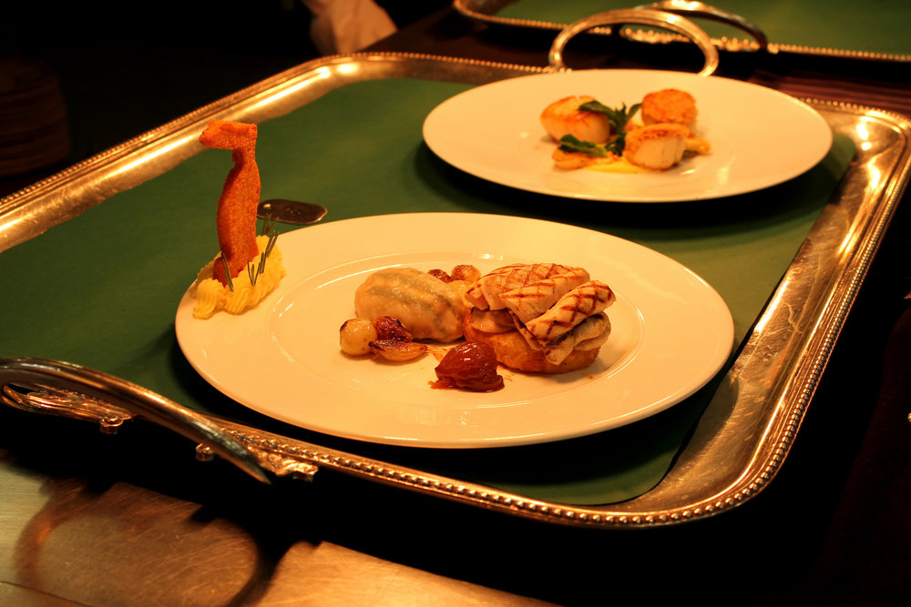 Grilled tender rabbit fillets, celeriac fondant, glazed chestnuts and Armagnac sauce.