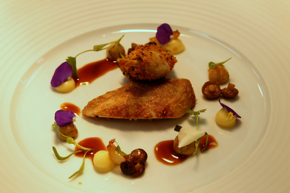 Quail with Truffle, Roast Onion and Mushroom