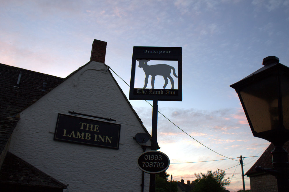 The lamb inn, exterior, night!