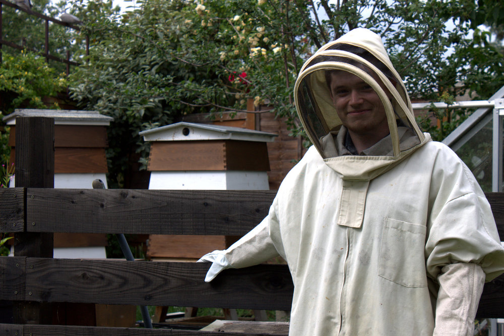 the stagiaire with the bees!